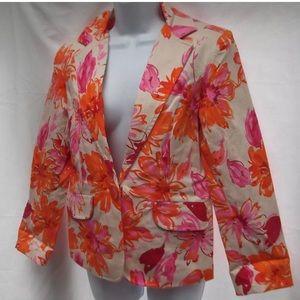 Susan Graver Floral Print Blazer Sz 16